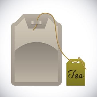 Teegestaltung über grauer hintergrundvektorillustration