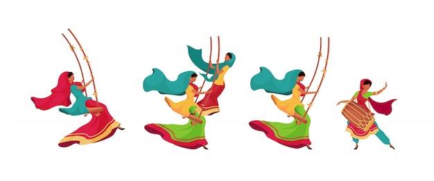 Teej feier flache farbe vektor gesichtslose zeichen gesetzt. frau im saree auf schaukel. frau in ethnischer kleidung mit trommel. isolierte karikaturillustrationen des traditionellen indischen feiertags auf weißem hintergrund