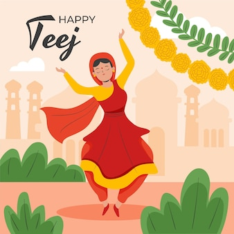 Teej festival feier abbildung celebration