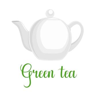 Teekanne auf weißem hintergrund, handgeschriebener titel