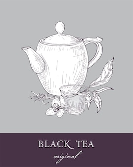 Teekanne, glasschale und original schwarze teeblätter und blumen handgezeichnet mit konturlinien