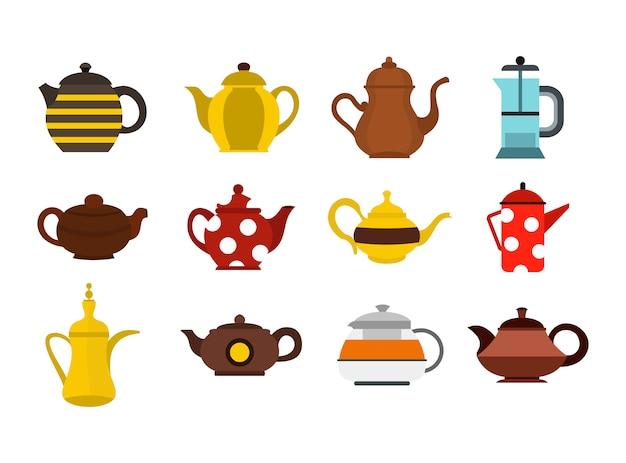 Teekanne-icon-set. flacher satz der teekannenvektor-ikonensammlung lokalisiert