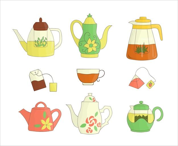 Teekanne-icon-set. helle teekanne-vektor-illustration. farbige wasserkocher auf weißem hintergrund. sammlung von küchengeräten im doodle-stil style