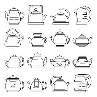 Teekanne-icon-set. umrisssatz teekannenvektorikonen