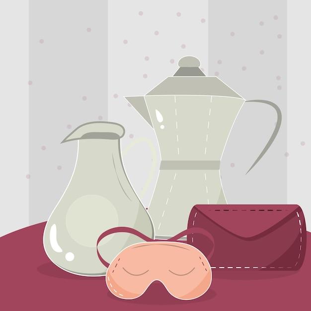 Teekanne, krug, umschlag und schlafmaske