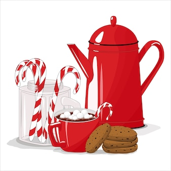 Teekanne mit einer tasse kakao mit marshmallows.
