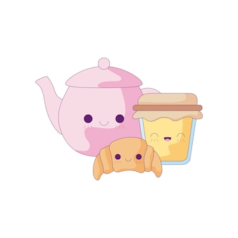 Teekanne mit kawaii art des satzlebensmittels