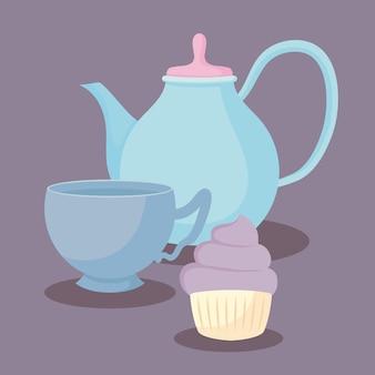 Teekanne mit süßem cupcake
