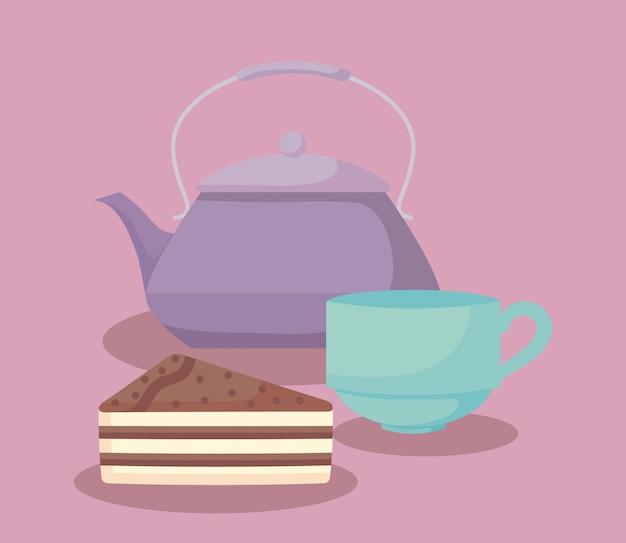 Teekanne mit süßem kuchenteil