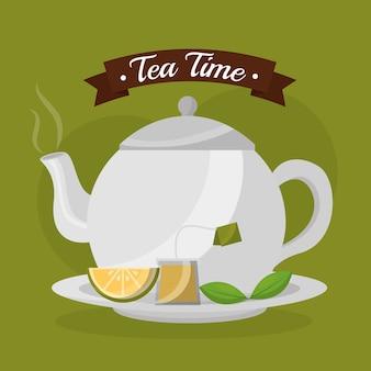 Teekanne scheibe zitrone teebeutel und minze frisch