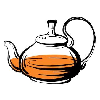 Teekanne-skizze. glaskessel.handgezeichnete vektorillustration