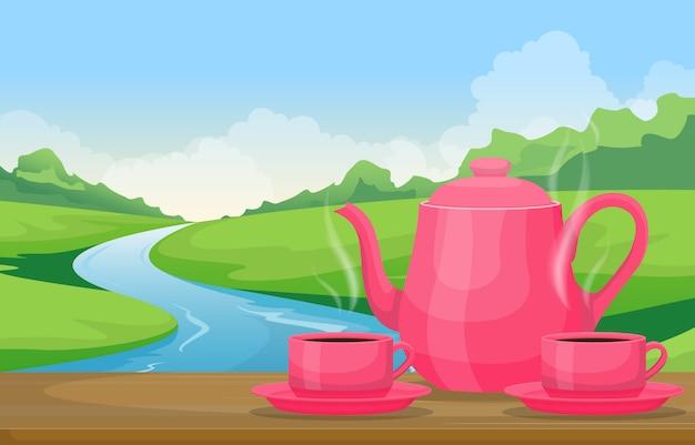 Teekanne tassen tee auf tisch im freien naturlandschaft river view illustration