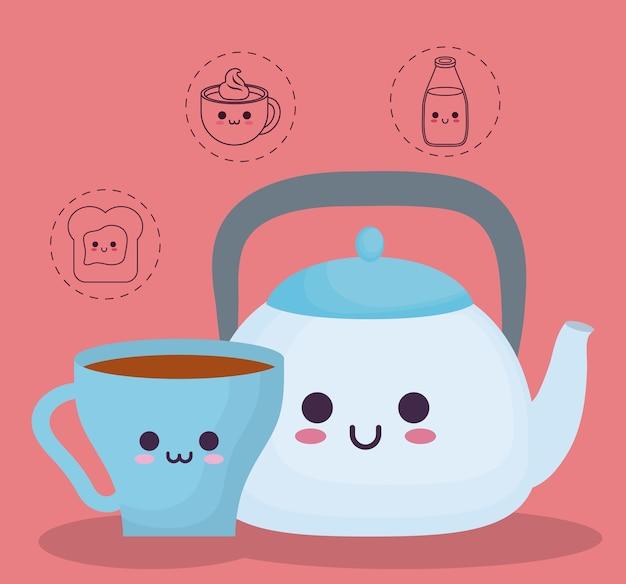 Teekanne und becher mit frühstück essen verwandte symbole