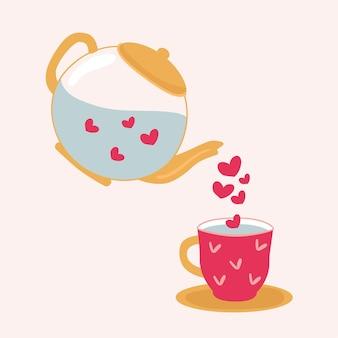 Teekanne und tasse mit herz im trend. gieße eine tasse hinein