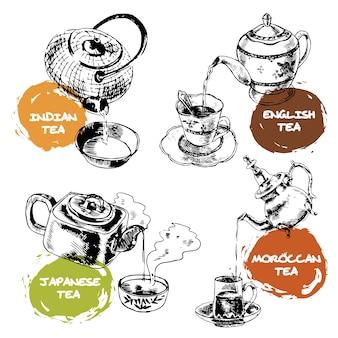 Teekanne und tassen symbole gesetzt