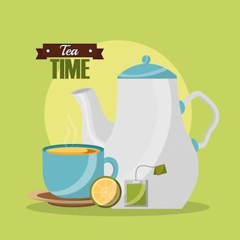 Teekanne und teetasse zitrone und teebeutel teezeit