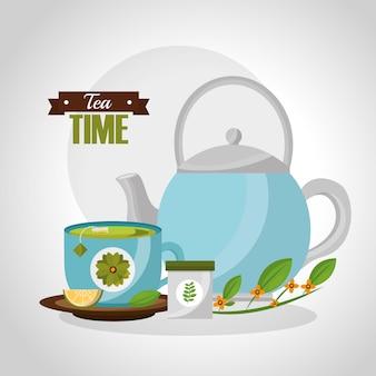 Teekanne und teetasse zitronenlöffel kräuterzweig