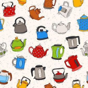 Teekanne und wasserkocher teekessel, um tee auf teezeit und gekochtes kaffeegetränk im elektrokessel in küchenillustration küchengeschirr gesetzt nahtloses muster zu trinken