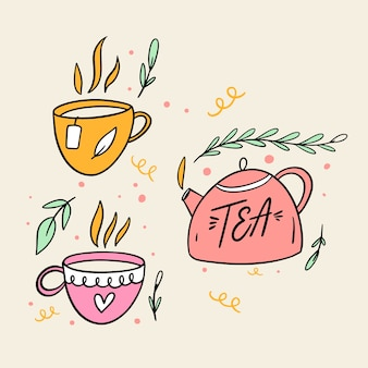 Teekanne und zwei tassen. hand gezeichnete skizze. strichzeichnungen stil.