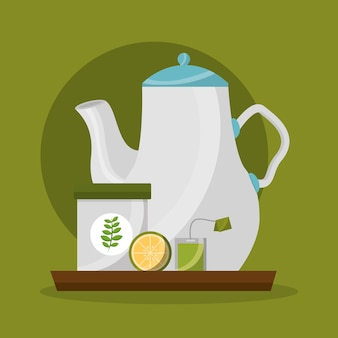 Teekanne zucker zitrone und teebeutel teezeit