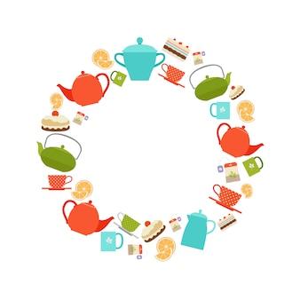 Teekannen, tassen und kuchen runden rahmen