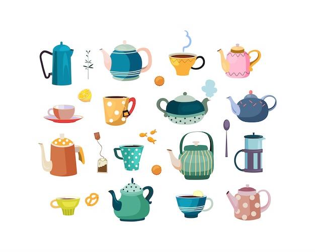 Teekannen und tassen gesetzt