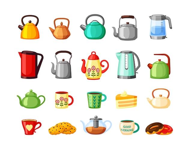 Teekannen und wasserkocher großes set.