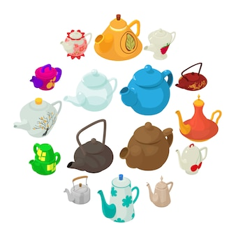 Teekannenikonen eingestellt, isometrische art.