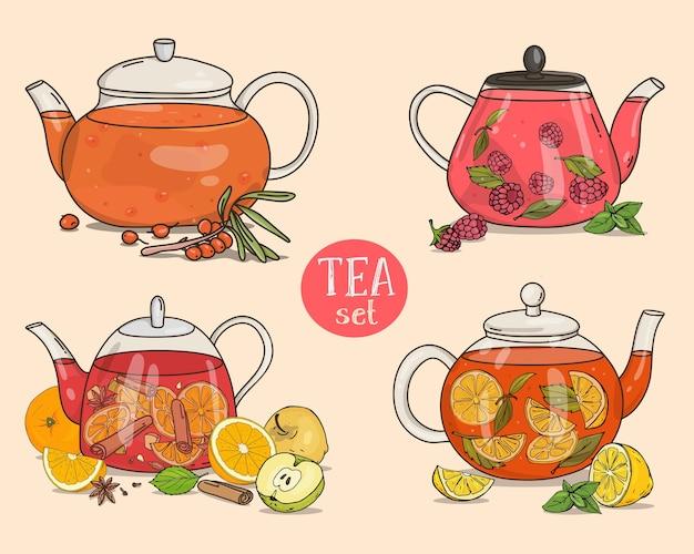 Teekannenset mit verschiedenen teesorten und heißgetränken