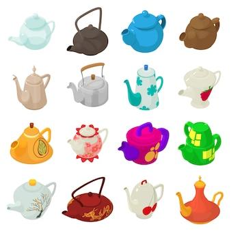 Teekannensportikonen eingestellt. isometrische illustration von 16 teekannenvektorikonen für netz
