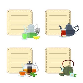 Teekessel und tassenaufkleber