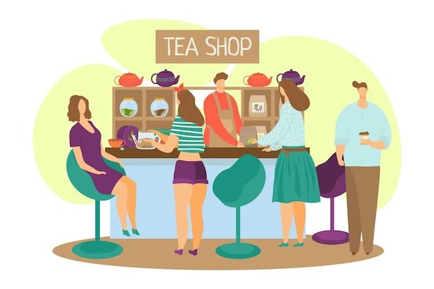 Teeladen, karikaturmann frau frau charakter trinken tee konzept
