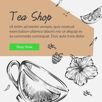 Teeladen mit kräuter- und getränkesortiment