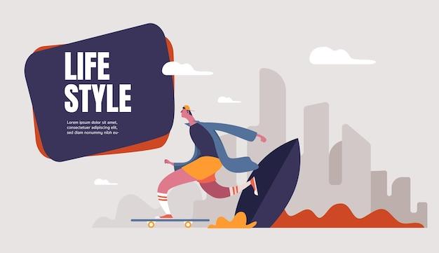 Teen boy in der baseballmütze, die auf skateboard reitet. kind beschleunigt beim beinschieben. junger skateboarder. flache artillustration.