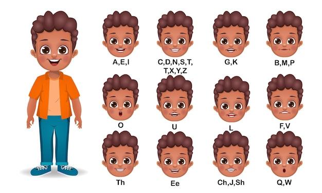 Teen boy mund animation und alphabet aussprache gesetzt
