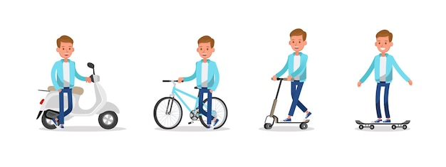 Teen boy reitet motorräder, fahrräder, skateboards und roller-charakter-vektor-design.