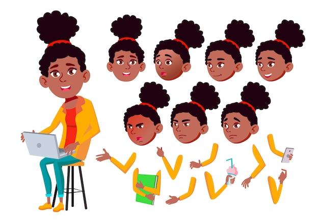 Teen girl charakter. afrikanisch. erstellungskonstruktor für animation. gesichtsemotionen, hände.