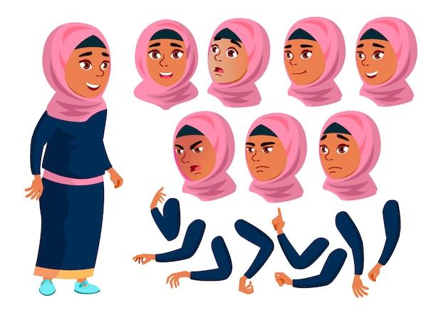 Teen girl charakter. araber. erstellungskonstruktor für animation. gesichtsemotionen, hände.