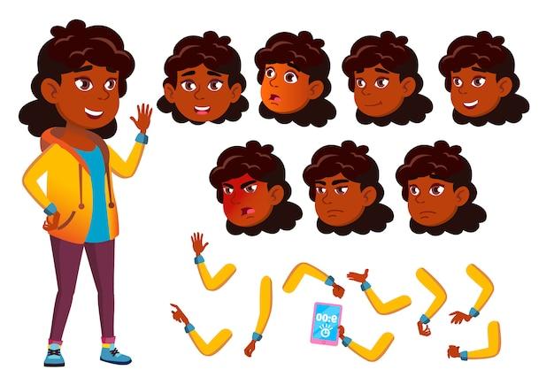 Teen girl charakter. indisch. erstellungskonstruktor für animation. gesichtsemotionen, hände. Premium Vektoren