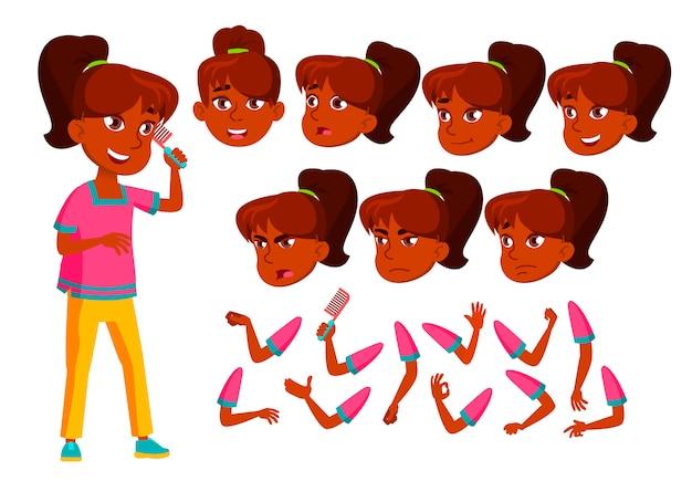 Teen girl charakter. indisch. erstellungskonstruktor für animation. gesichtsemotionen, hände.