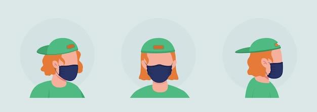 Teen mit schwarzer maske halbflacher farbvektor-charakter-avatar-set