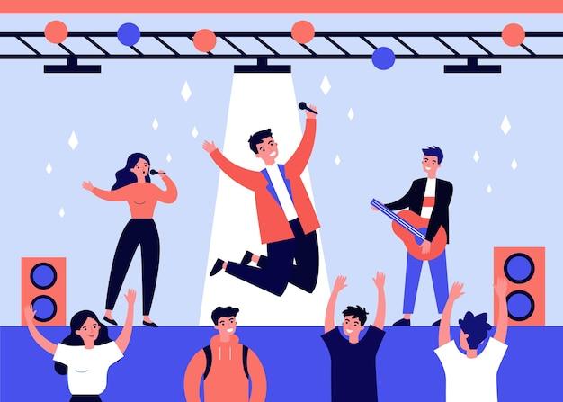 Teen talentshow. junges mädchen und jungs, die auf der bühne auftreten, gitarre spielen und vor der illustration der fans singen. performance, konzertkonzept für banner, website oder landing webseite