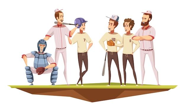 Teenager-baseballteam in der einheitlichen trainingsdiskussion mit trainer auf retro- karikaturvektorillustration des feldplakats