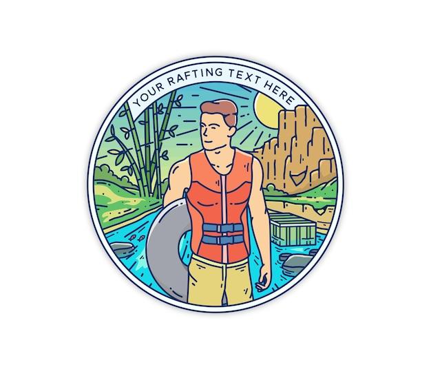Teenager, der rafting und abenteuer im natürlichen sauberen fluss-monoline-zeichenabzeichen spielt