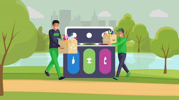 Teenager, die parkfarbillustration säubern. glückliche jungs bringen müll raus, sortieren müll und reduzieren gemeinsam die umweltverschmutzung. freiwillige, aktivisten, die müll trennen und comicfiguren aufräumen