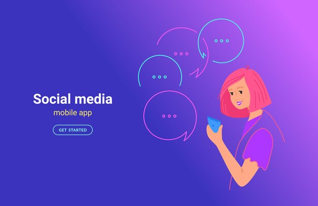 Teenager-frau, die mobile app-konzept-vektor-illustration verwendet. junger teenager mit smartphone mit mobiler app für sms, senden von sofortnachrichten in sozialen medien. lächelndes mädchen auf hintergrund mit farbverlauf