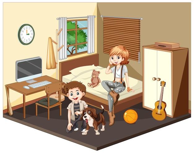 Teenager in der schlafzimmerszene auf weißem hintergrund