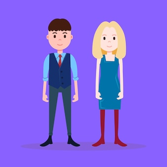 Teenager junge mädchen charakter ernst männlich weiblich auf violettem hintergrund in voller länge flache person