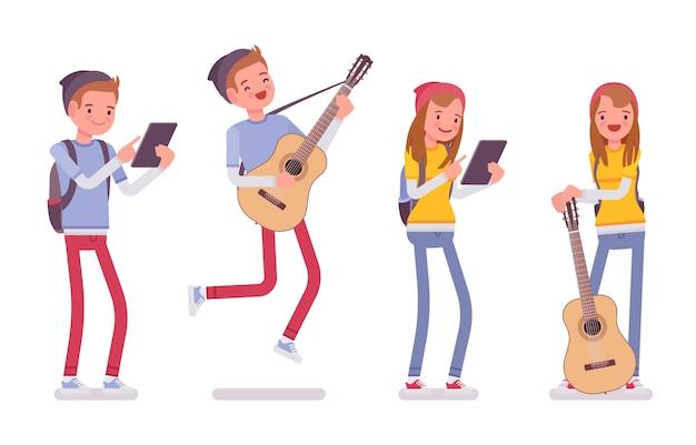 Teenager jungen und mädchen in verschiedenen lustigen situationen
