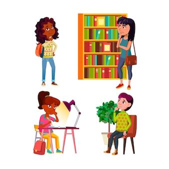 Teenager-mädchen denken und träumen set. teenager-mädchen denken und träumen in bibliothek und schule, im krankenhaus und im wohnzimmer.